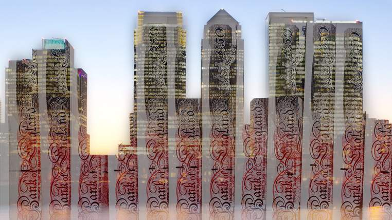 city skyline 50 pound notes